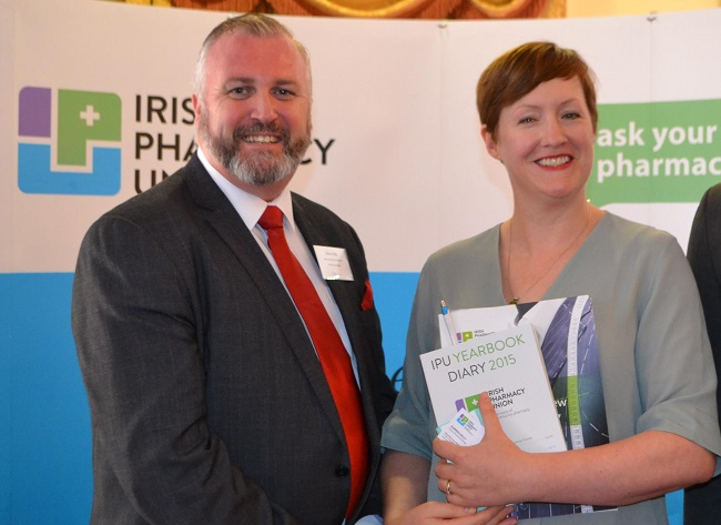 Darren Kelly from The Irish Pharmacy Union with Eileen Carroll from Púca at the Pharmacy Summit